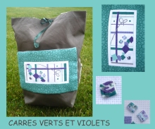 carrés verts et violets
